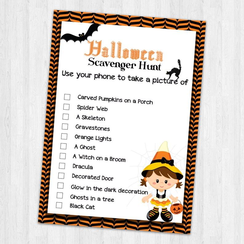 Scavenger Hunt Halloween Printables Kids Party Games Kids | Etsy