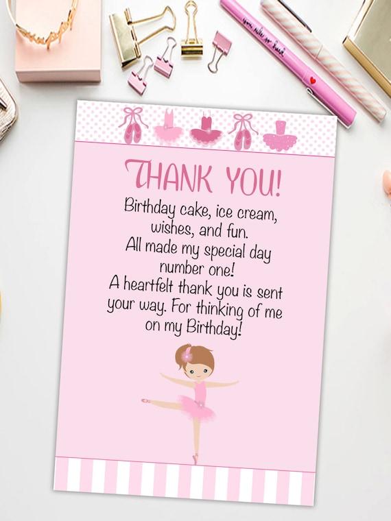 Ballerina Thank You Card Printable Ballet Thank You Card Etsy