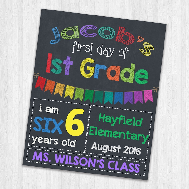 graphic about Printable Back to School Signs called Back again in the direction of Higher education Indications Printable To start with Working day Of University Indications Chalkboard Indicators Very first Working day of Initial Quality Photograph Prop Indicators