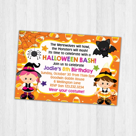 image relating to Printable Halloween Birthday Invitations titled Halloween Birthday Occasion Invite, Printable Halloween Celebration invitation, Birthday Social gathering Invitation