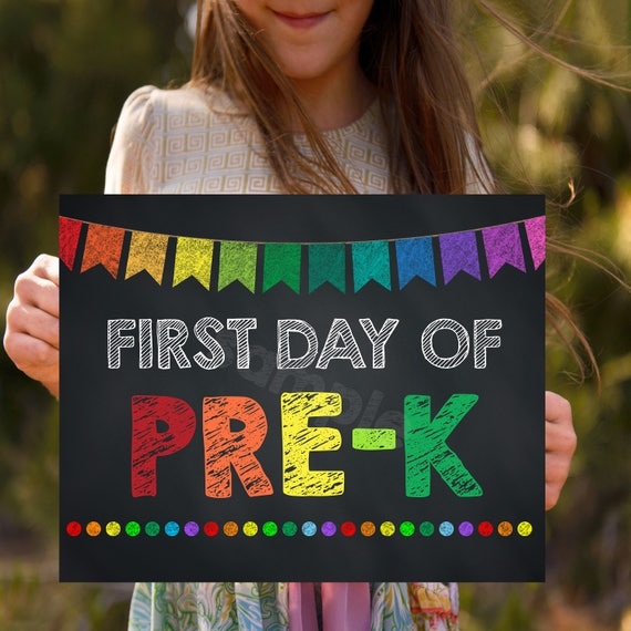 First Day Of Pre K Back To School Signs Kids School Photo Prop Chalkboard Printables 1st Day Of Pre K First Day Of School
