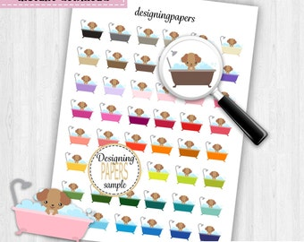 Bath Your Dog Planner Stickers, Printable Planner Stickers, Stickers For Planners, Agenda Stickers