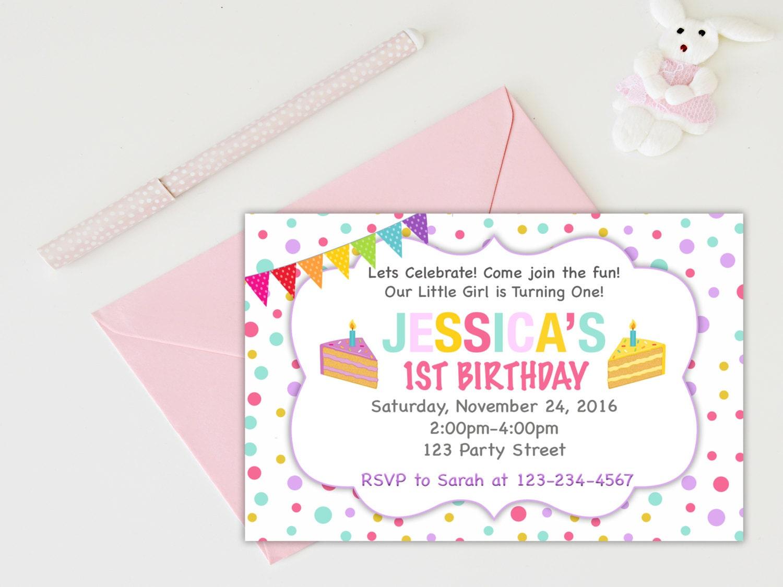 1st Birthday invitation girl birthday party invitation kids   Etsy