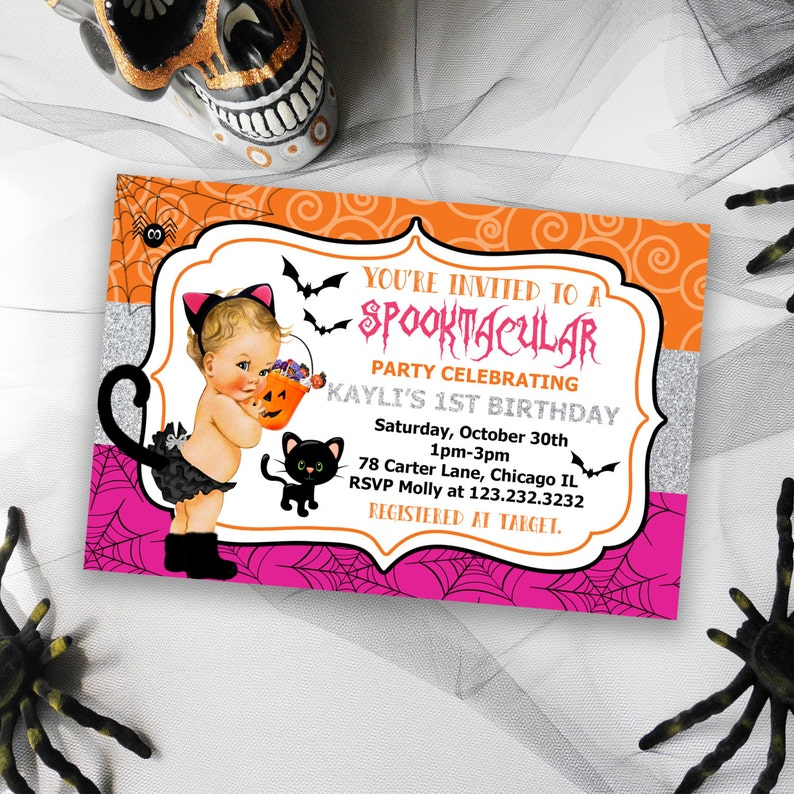 Babys First Birthday Halloween Invitation Printable