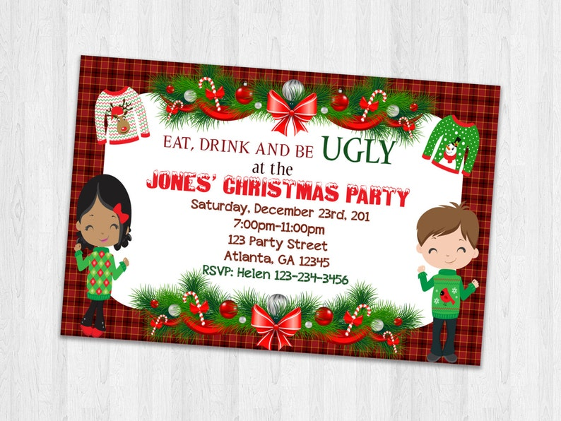 picture relating to Printable Holiday Invites referred to as Xmas Bash invitation, hideous sweater invitation, Holiday vacation invites, Christmas sweater invitations, Printable Family vacation Invitations