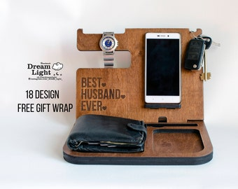 Mens Gift, Personalized Gift, Gift for Men, Desk Organizer, Docking Station, Charging Station, Nursery Decor, Office Decor, Gift for Him