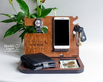 Docking Station,Desk Organize, Charging Station, Phone Stand,Gifts for Dad,Fathers Day Gift,Mens birthday gift,Gift for husband,Gift for Men