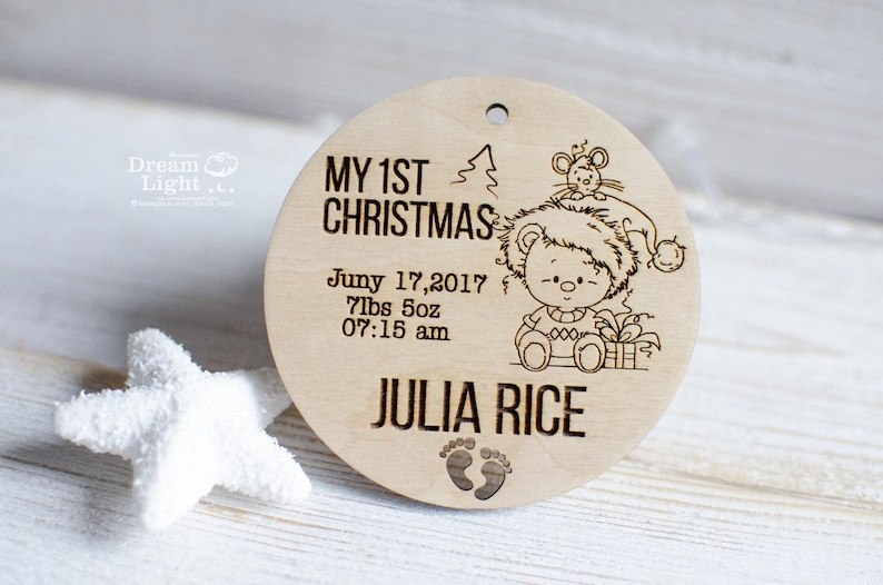 Personalised Wooden Baby/'s First Christmas Tree Decoration Ornament Baby My First Christmas Name Ornament