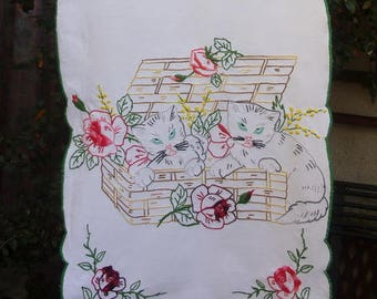 Charming Tea towel, curtain, embroidered cats
