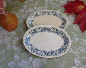 2 beautiful old dishes in earthenware of ST AMAND and HAMAGE, Lamballe.