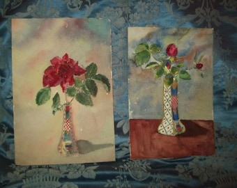2 old small watercolor paintings depicting roses