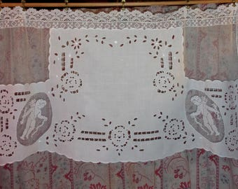 Curtain, antique lace, vintage embroidery and cherubs
