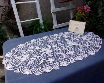 Large vintage Venice lace, handmade lace doily