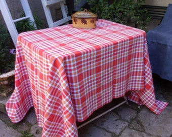 French vintage tablecloth, tiles, woven, orangy color.