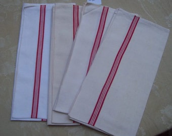 4 tea towels, striped red