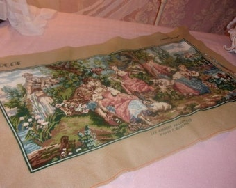large, beautiful tapestry vintage, romantic scene, butcher