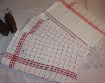 4 old, woven red towels
