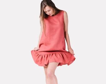 28fe65229a9 Linen maternity dress women Pink linen dress Linen ruffle