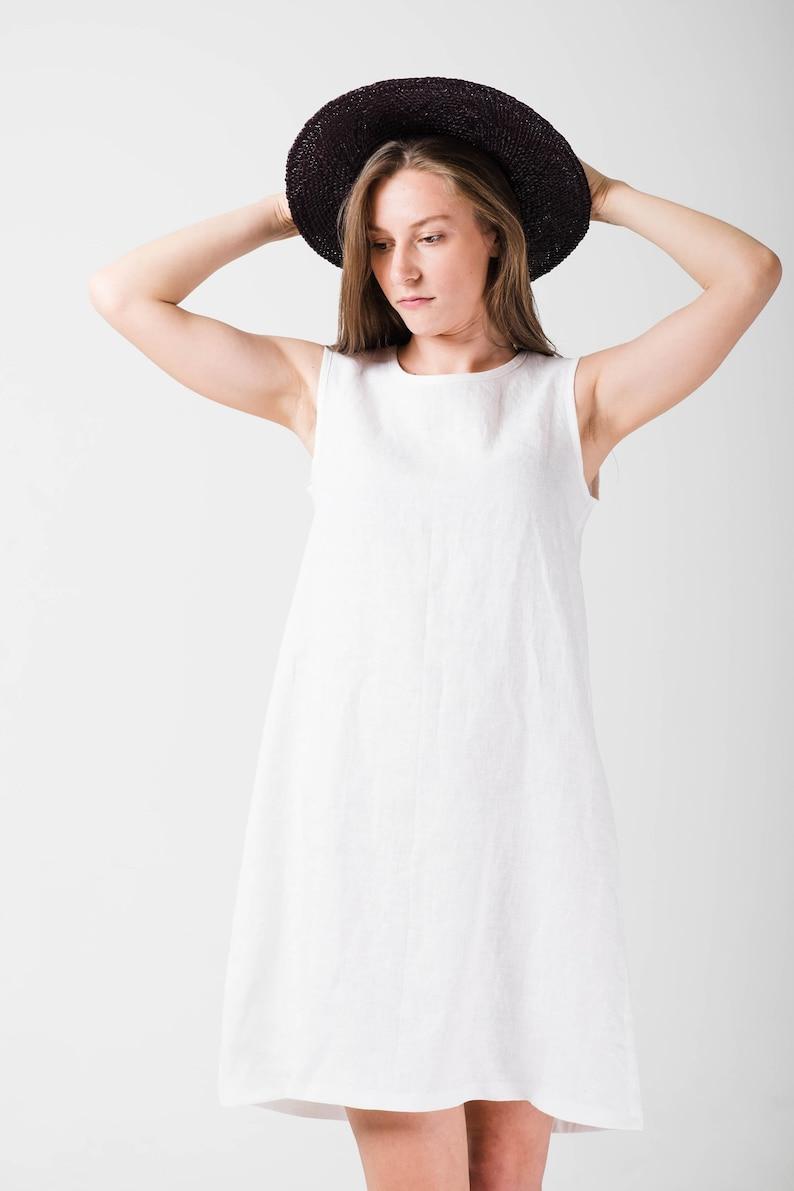 e8a3baa30c2 White linen dress Straight linen dress A line dress White