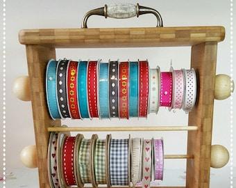 Crafting Wooden Ribbon Rack / Ribbon Organiser / Wooden Ribbon Holder / Wooden Ribbon Storage / Washi Tape Holder / Compact Ribbon Holder