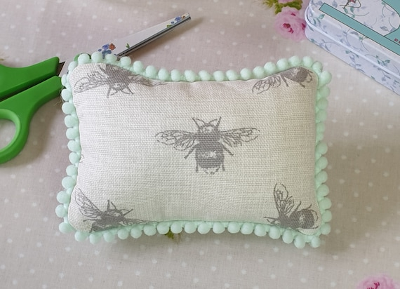 Busy Bee Pin Cushion  Sewing Room  Craft Room  Shabby Chic  Country Cottage  Beige Pin Cushion  Pin Cushion