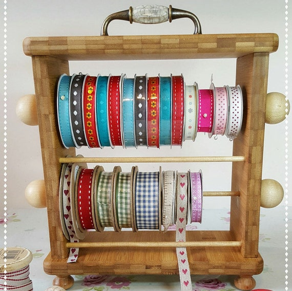 Crafting Wooden Ribbon Rack / Ribbon Organiser / Wooden Ribbon Holder / Wooden Ribbon Storage / Washi Tape Holder / Compact Ribbon Holder from ... & Crafting Wooden Ribbon Rack / Ribbon Organiser / Wooden Ribbon ...