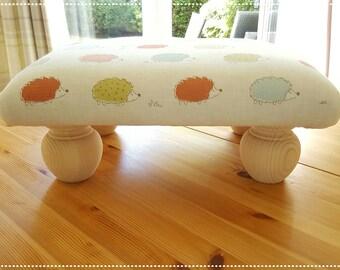 Handmade Footstool, Hedgehog Footstool, Foot Rest, Footstool, Shabby Chic Footstool, Country Cottage, Craft Room, Sewing Footstool