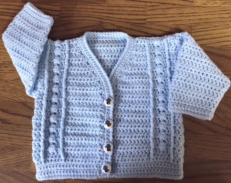 Sizes: 3 Months - 6 Years Baby Crochet Pattern for Cardigan 1018 DK
