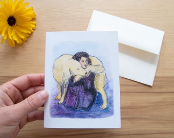 Dog Hug - Set of Five Block Print Notecards - Greeting Card  - Baby Mother's Day Family Nature Thank you Handmade