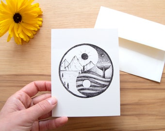 Yin Yang - Set of Five Block Print Notecards - Greeting Card  - Baby Mother's Day Family Nature Thank you Handmade