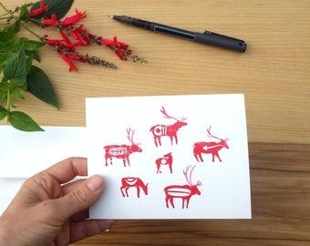Reindeer Herd- Set of Five Block Print Notecard - Greeting Card Christmas Friendship Marriage Christmas Handmade Anniversary Folk Art