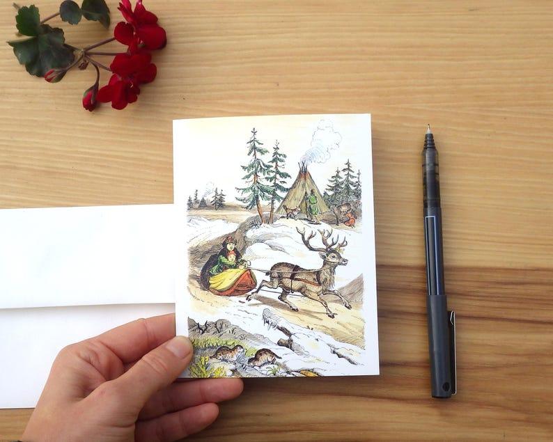 Sleigh Ride  Set of Five Handmade Notecard  Greeting Card  image 0