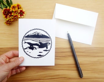 Orcas & Mt Baker - Set of Five Block Print Notecards - Greeting Card  - Baby Mother's Day Family Nature Thank you Handmade