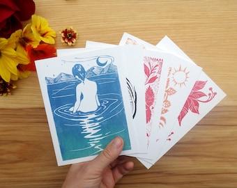 Mix & Match - Set of Five Block Print Notecards - Greeting Card - Block Print - Holiday Congratulations Thank you Handmade Christmas