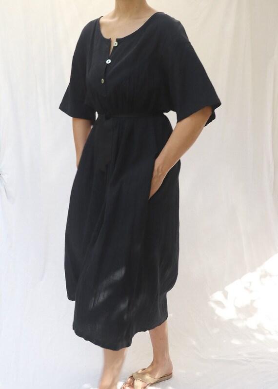 vintage 80s 90s minimalist black cotton gauze dres