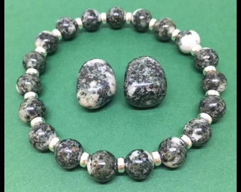 Preseli Bluestone Posh Power Bracelet With Sterling Silver. Free Preseli Tumble With Every Bracelet! Stacking Stonehenge Beads  22crystals