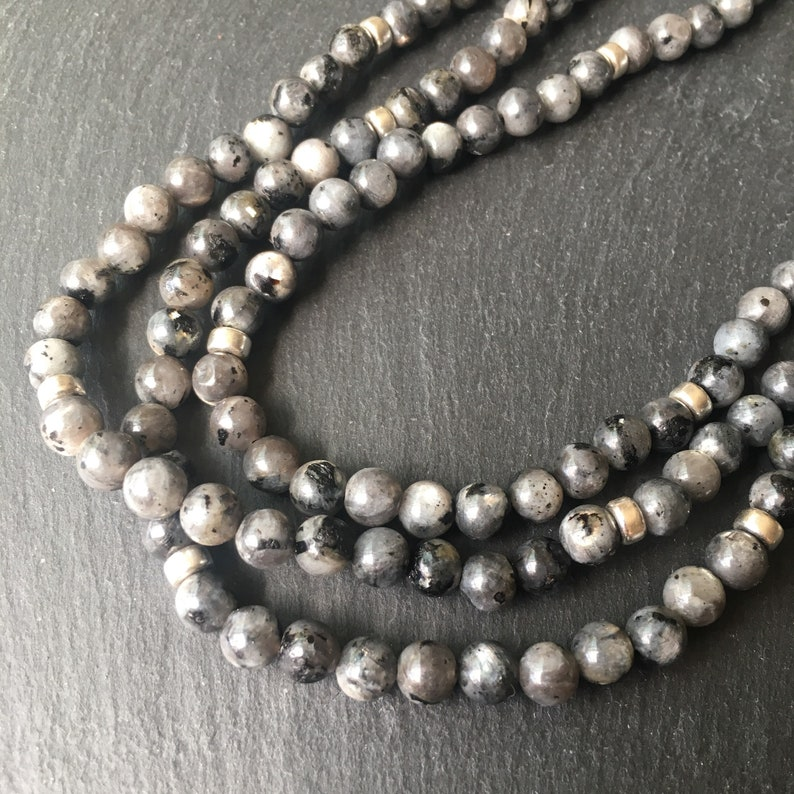 With 3 Free Larvikite Tumble Stones Grey Beads Larvikite Posh Power Rope Necklace With Sterling Silver 22crystals