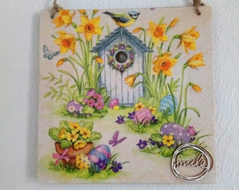 Birdhouse & Easter Eggs plaque, wall hanging, home decor, square Decoupaged plaque, decoupaged wood,