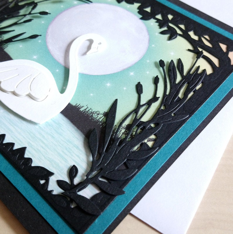 white swan birthday card, best wishes, swan card, animal card