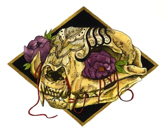 "Kitty's Afterlife Skull painting, watercolor, original artwork 11.2""X8.2"""