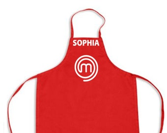 Customized Masterchef Jr Apron- Red with White design