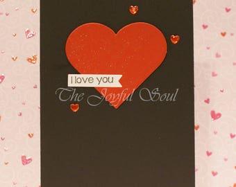 Handmade Black and Red Shimmer Heart Love Card