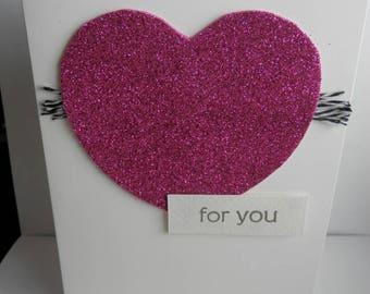 Handmade Pink Glitter Heart Love Card