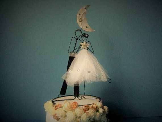 Custom Wedding Cake Topper Wedding Wire Cake Topper Figurine Etsy