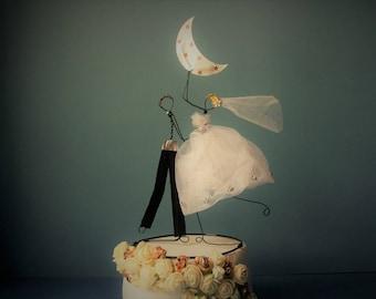 Custom cake topper, Wedding cake topper, Wire cake topper figurine, Cake decoration, Bride and groom cake topper, Wedding decoration, Rustic