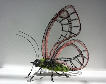 Wire Butterfly, Wedding gift, Wire Sculpture, Wire decor, Steampunk gift, Birthday gift, Anniversary gift, Gift her, Gift mom, Office decor