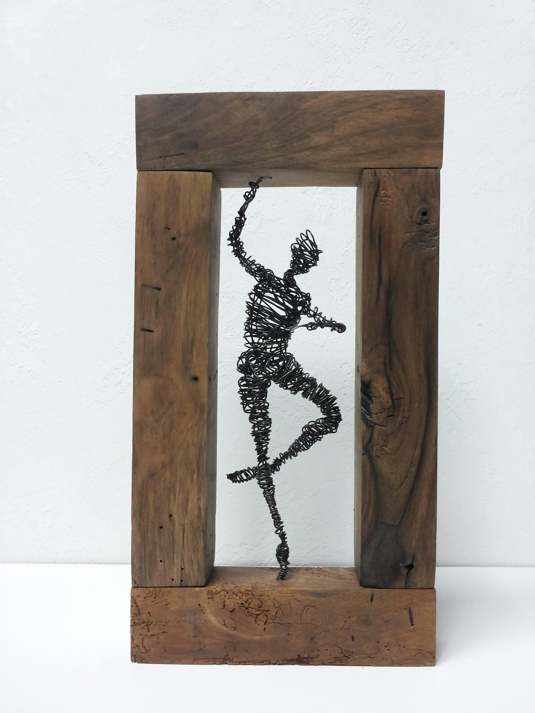 Draht-Skulptur Treibholz Skulptur Altholz Steampunk Draht