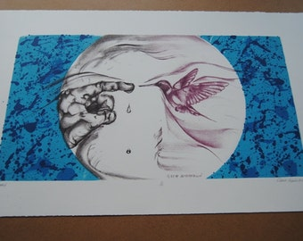 Tamed Hummingbird Color Lithograph