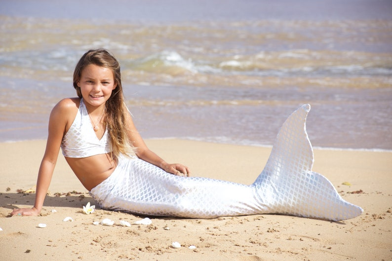 True White Sand Scale Swimmable Mermaid Tail (includes monofin & free  backpack!) by The2Tails
