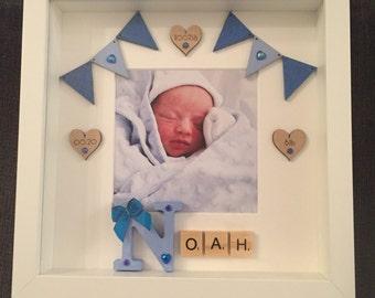 Handmade Personalised New Baby Frame   Christening Gift   Nursery Keepsake   Baby Boy   Baby Girl   Naming Ceremony Gift   Baby Photo Frame